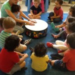 Learning and experiencing rhythm and tones in music.