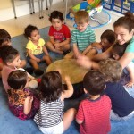 Working together in music class!
